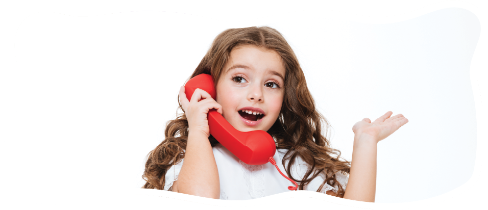 girl on a red telephone