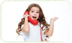little girl on a red telephone