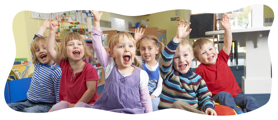 group of preschoolers raising their hands
